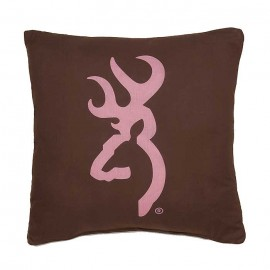Browning Buckmark Pink Square Pillow - Brown Pillow with Pink Logo