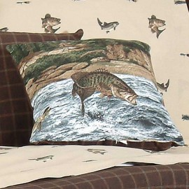 River Fishing Square Pillow