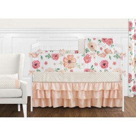 Watercolor Floral Peach and Green Crib Bedding Set by Sweet Jojo Designs - 9 piece