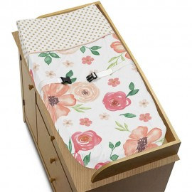 Watercolor Floral Peach and Green Changing Pad Cover