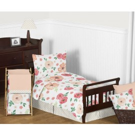 Watercolor Floral Peach and Green Toddler Bedding Set By Sweet Jojo Designs