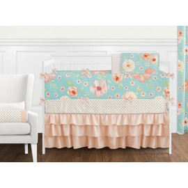 Watercolor Floral Turquoise and Peach Crib Bedding Set by Sweet Jojo Designs - 9 piece