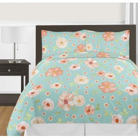 Watercolor Floral Turquoise and Peach Comforter Set - 3 Piece Full/Queen Size By Sweet Jojo Designs