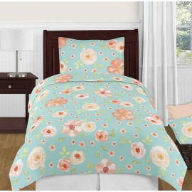 Watercolor Floral Turquoise and Peach Bedding Set - 4 Piece Twin Size By Sweet Jojo Designs