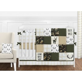 Woodland Camo Crib Bedding Set by Sweet Jojo Designs - 9 piece