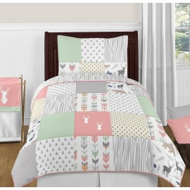 Woodsy Coral, Mint & Grey Bedding Set - 4 Piece Twin Size By Sweet Jojo Designs
