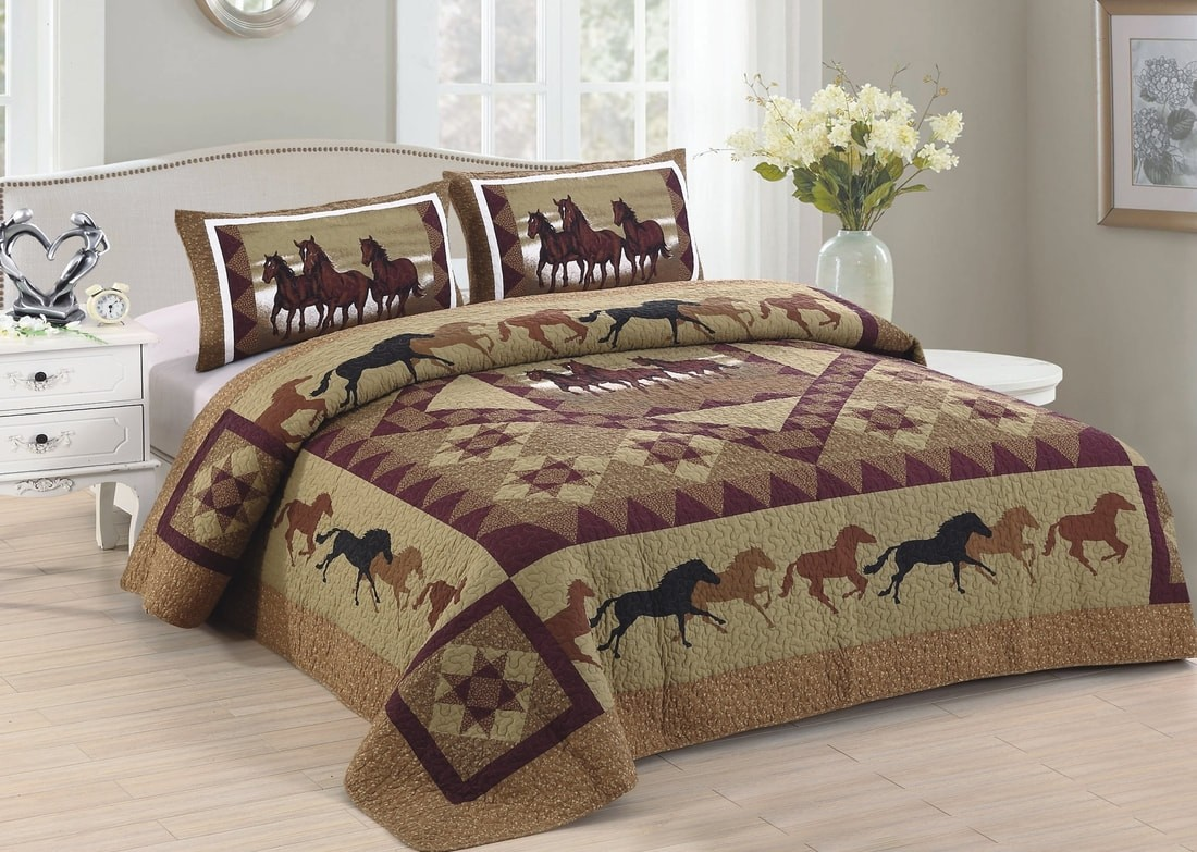 Horse Country Quilt Set King Size American Hometex